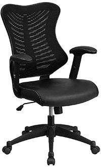 Black leather variant of the Flash Furniture High Back Designer Mesh Swivel Chair