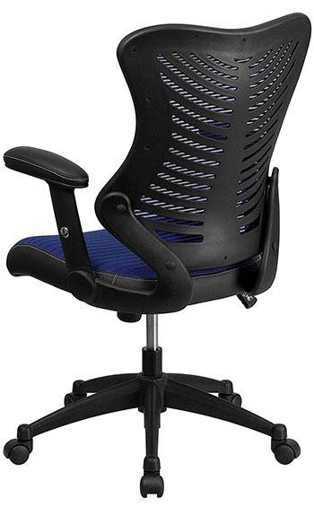 Back portion of the Flash Furniture High Back Designer Mesh Chair in Blue mesh