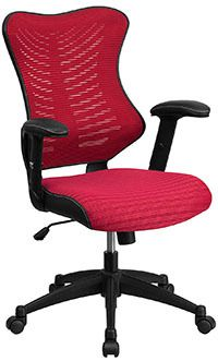 Burgundy mesh variant of the Flash Furniture High Back Designer Mesh Swivel Chair