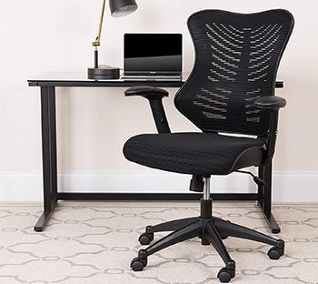 Black mesh variant of the Flash Furniture High Back Designer Mesh Chair with a desk at the back
