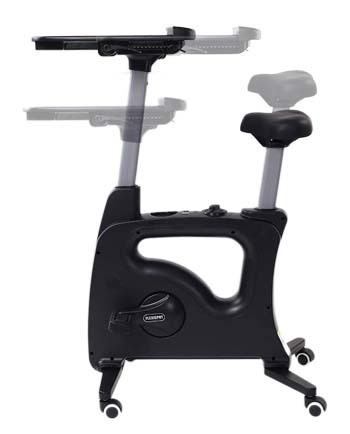 An illustration on the tray and seat height adjustments of the FlexiSpot Exercise Desk Bike