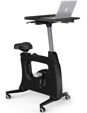 Black variant of the FlexiSpot Exercise Bike with a laptop on its tray
