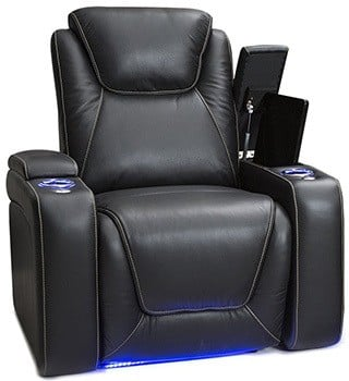 Seatcraft Equinox Home Theater Seating, Leather,Power Recliner, Adjustable Power Headrest, Adjustable Powered Lumbar Support