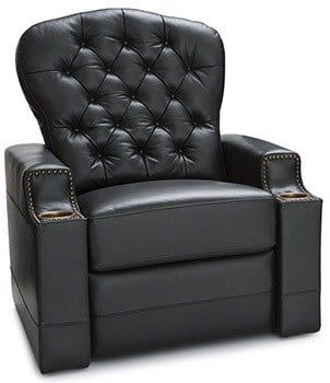Seatcraft Imperial, Power Recliner with Tufted Backrest, Nailhead Accent Arms, USB Charging and Cup Holders, Black
