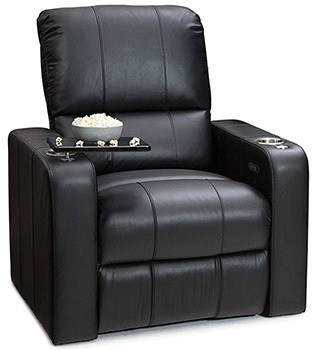 Seatcraft Millenia Recliner, Top Grain Leather and Manual Recline, Black