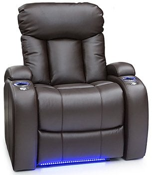 Seatcraft Orleans Leather Gel Power Recliner with In-Arm Storage, and USB Charging, Brown