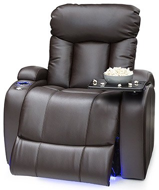 Brown Variants, Seatcraft Orleans Leather Gel Power Recliner with In-Arm Storage, Right Position