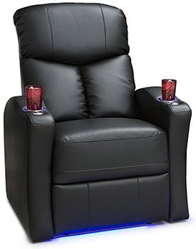 Seatcraft Raleigh Leather Gel, Recliner with Space Saver Armrestsan and USB Charging, Black
