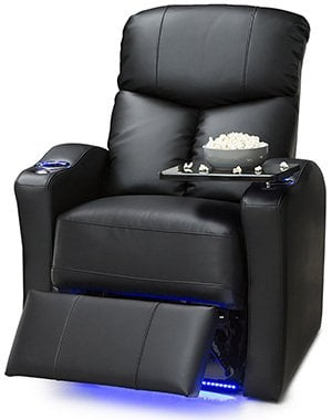 Black Variants, Seatcraft Raleigh Leather Gel Manual Home Theater Recliner, Right Position