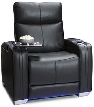 Seatcraft Solstice Leather Power Recliner, Lumbar Support,  Powered Headrests, and Built-In SoundShaker, Black