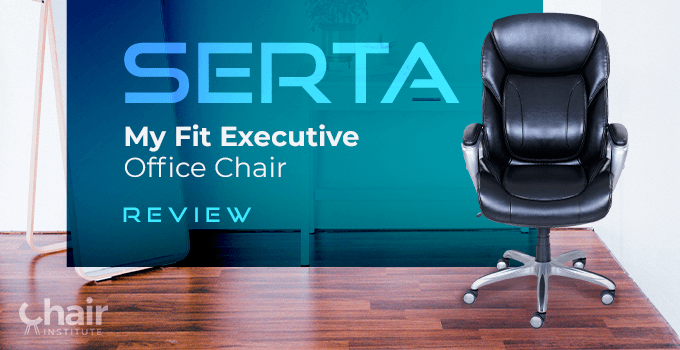 The Serta My Fit Executive Office Chair with a white table and mirror in the background