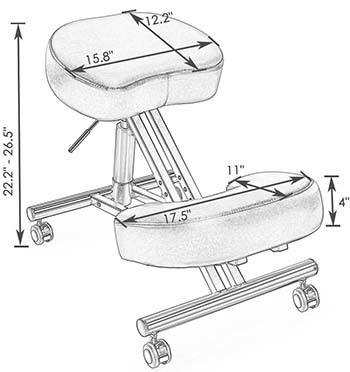 A sketch image of Superjare Adjustable Kneeling Chair which shows the properties of Chair