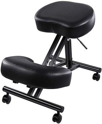 A side pose image of Superjare Adjustable Kneeling Chair in Black color.
