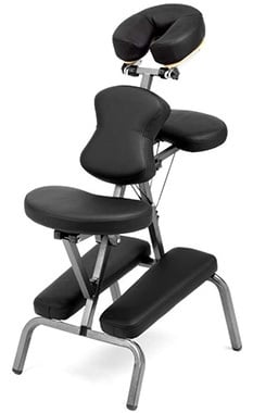 Black Color, Ataraxia Deluxe Portable Folding Massage Chair with Carry Case & Strap