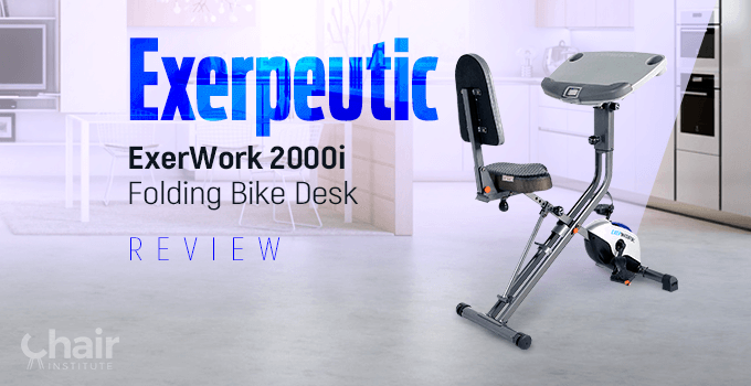 The Exerpeutic ExerWork 2000i Folding Bike with kitchen and dining table in the background