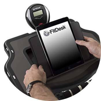 FitDesk Bike Desk's work tray with a tablet on its storage compartment