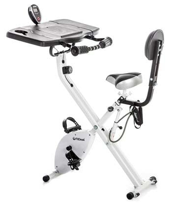 The FitDesk Bike Desk 3.0 with its front side almost facing to the back
