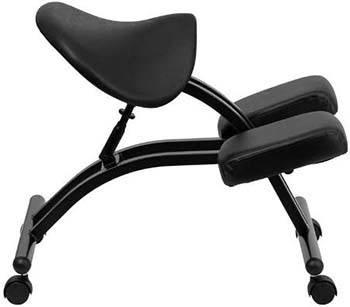 The Flash Furniture Ergonomic Kneeling Chair facing the right side
