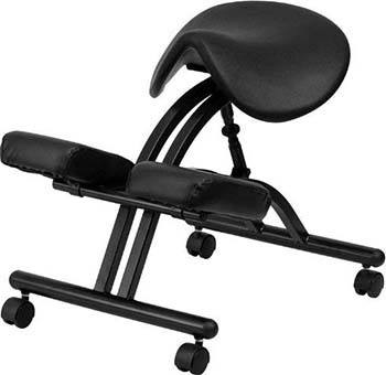 Black Flash Furniture Ergonomic Kneeling Chair with Saddle Seat