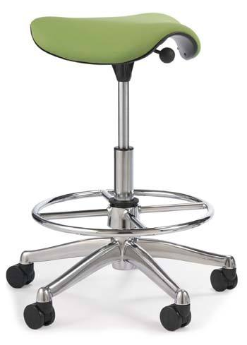 An image of Humanscale Freedom Saddle Stool with optional foot ring and high cylinders