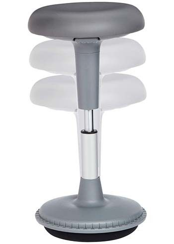 An image showing height adjustable feature of AmazonBasics Activity Office Tilt Stool