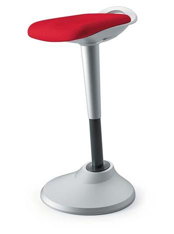 Red Fabric, Silver Base Hon Perch Stool