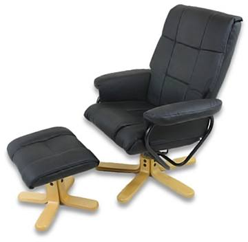 Black OS-802E Comfort Leather Recliner Chair with Roller Massage
