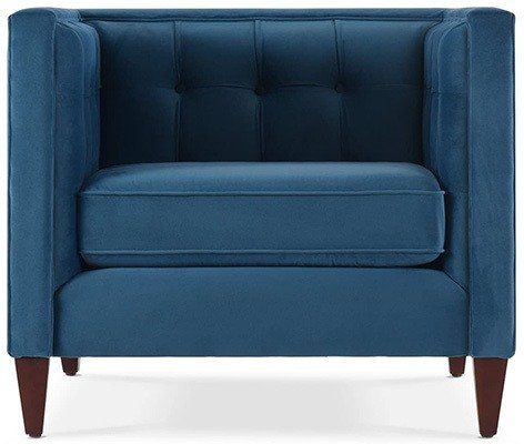 Satin Teal, Jennifer Taylor Jack Tufted Arm Chair, Front View