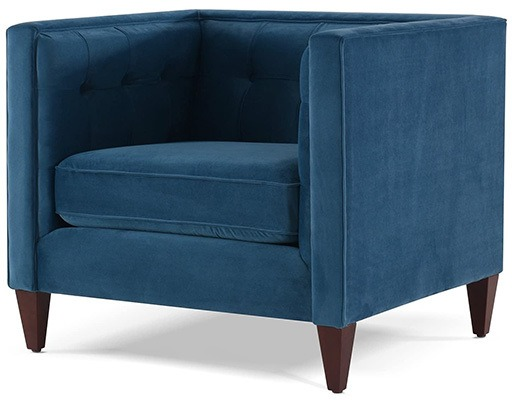 Satin Teal, Jennifer Taylor Jack Tufted Arm Chair, Right View