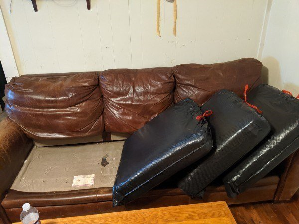 Three Upholstery Cushions from the Torn Couch